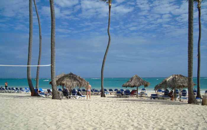 Coqueiros na praia de Punta Cana