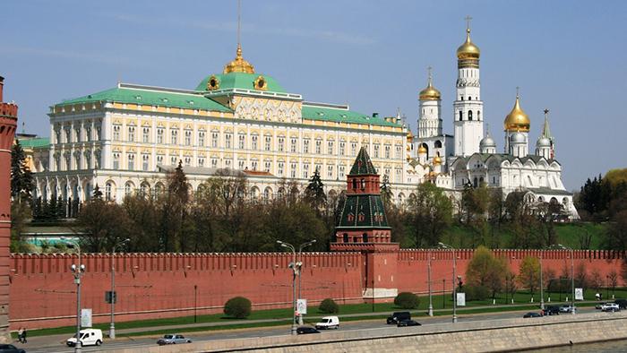 o Kremlin de Moscou, com o Grande Palácio e o Campanário de Ivã, o Grande