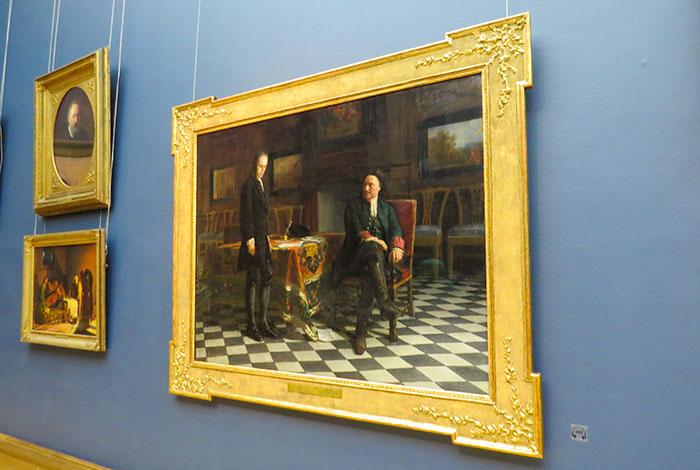 Galeria_Tretyakov: Pedro, o Grande, interroga Alexei Petrovich Romanov (seu filho) em Peterhof, de N. Gue