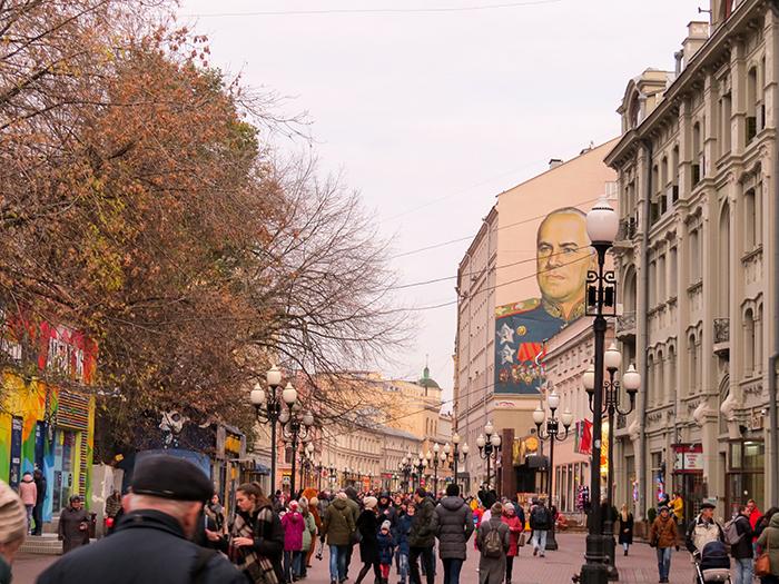 A histórica Rua Arbat, em Moscou