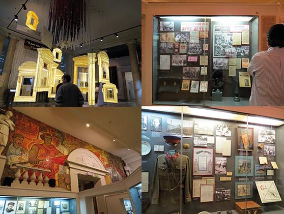 Documentos e fotos de vários períodos da história da Rússia