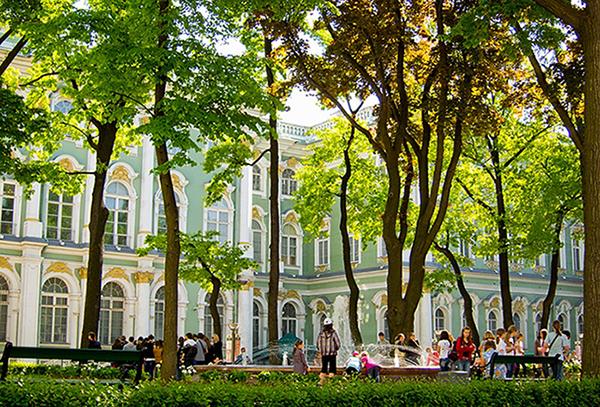 O agradabilíssimo jardim do Hermitage