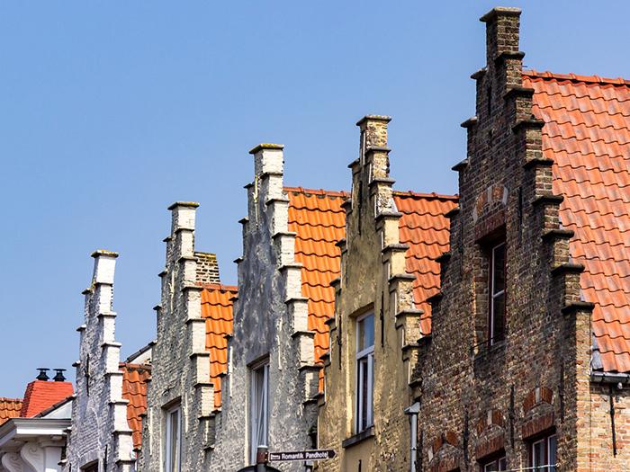 Os telhados da romântica Bruges