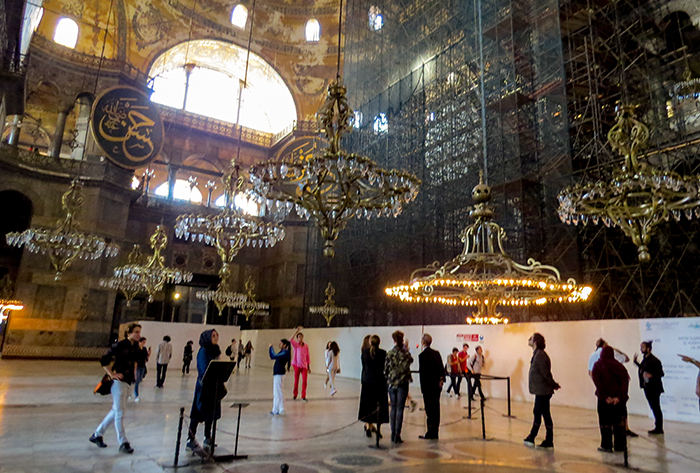interior da Santa Sofia, em Istambul