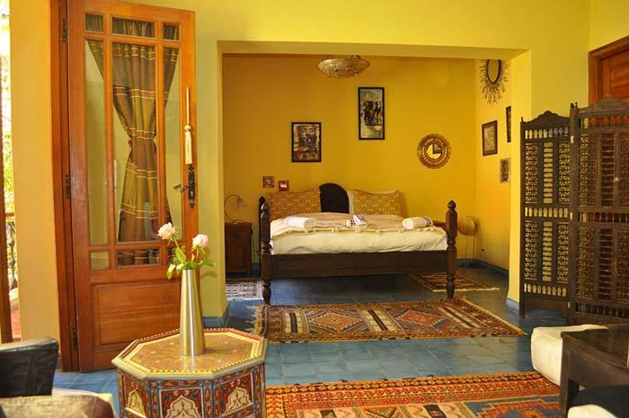 Quarto do Riad Zarka, em Marrakech, Marrocos