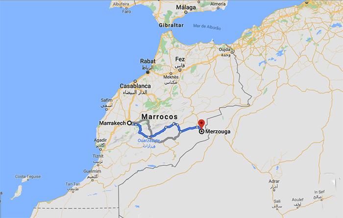 O caminho que fizemos de Marrakech a Merzouga