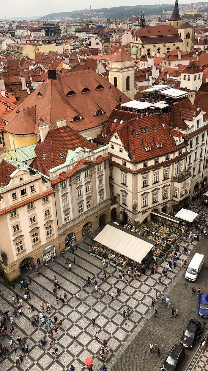Vista da Torre da Prefeitura, em Praga