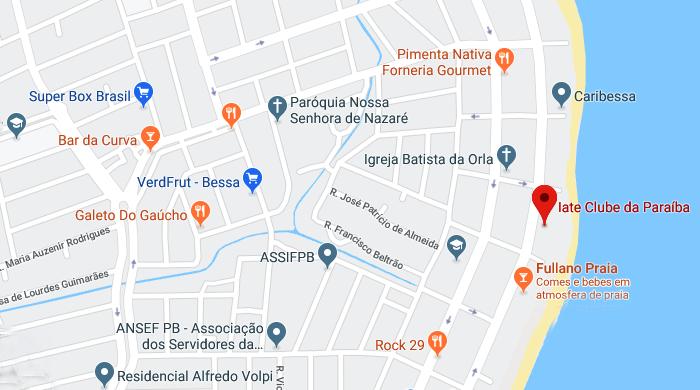 Localização do Ocean atlântico Hotel, em João Pessoa, Paraíba