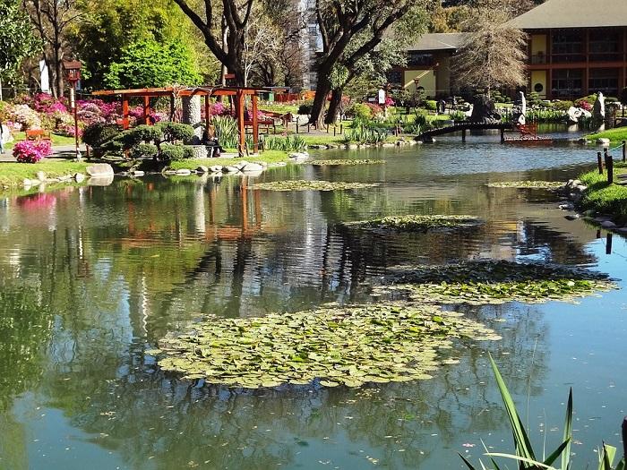 O ambiente no Jardim Japonês, em Buenos Aires, nos remete mesmo ao Japão