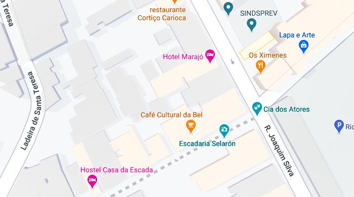 Mapa da Escadaria Selarón, no centro do Rio de Janeiro