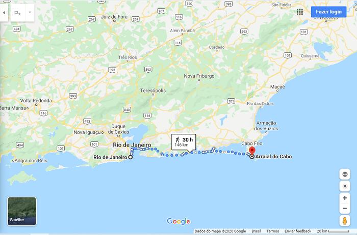 Caminho do Rio de Janeiro para Arraial do Cabo