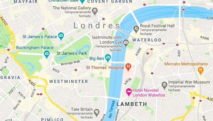 Mapa da cidade de Londres, na Inglaterra