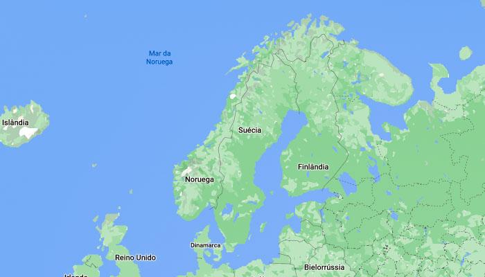Mapa da Finlândia e seus vizinhos