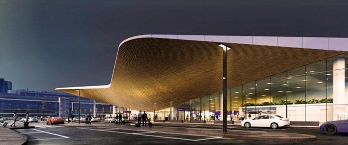 Ilustração da fachada do aeroporto Helsinque-Vataan